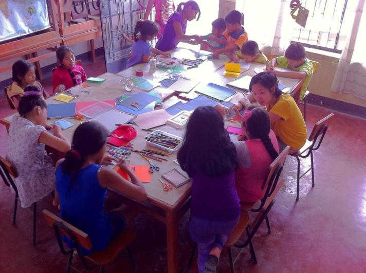 Lindsey teaching her Zone D art class, look at all those smiling faces!!