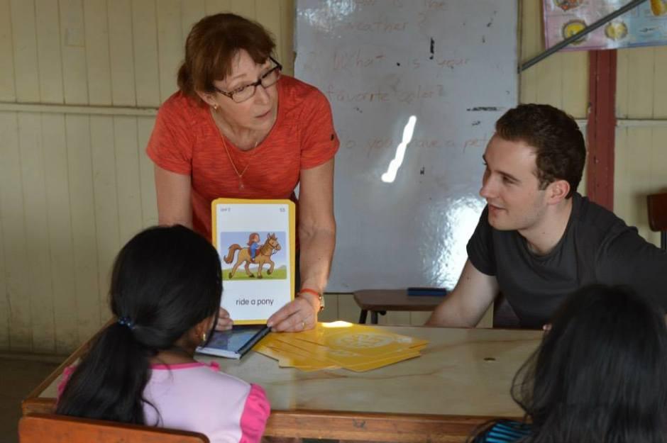 Sally teaching English with Marc