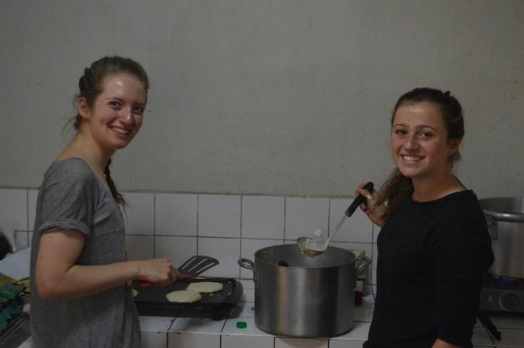 Pancakes = a team effort. Thanks Natalie and Anna.